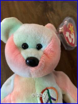 NWT Rare Ty Beanie Baby Peace Bear 1996 With Tag Errors. 9