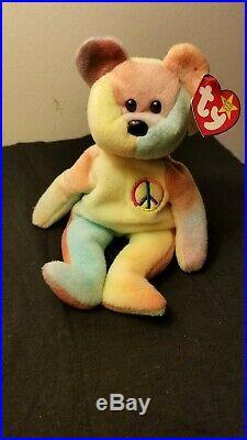 Original TY pastel Peace Bear 19963 ultra Rare errorssee details1st ed