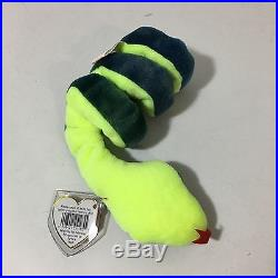 Original Ty Beanie Baby Hissy with ERRORS Retired Snake with Tag Rare! MINT