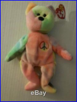 PEACE Bear TY Beanie Baby Original Collectible with Tag Errors Very Rare Retired