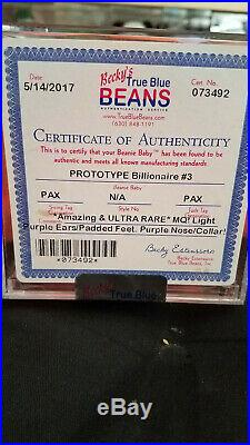 Pax Prototype Billionaire #3 TY Beanie Baby Authenticated MQ Extremely Rare
