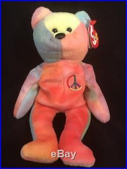 Peace (1996) Ty BeanieBaby Bear. PVC/Rare/RetiredAUTHENTICATEDERRORS