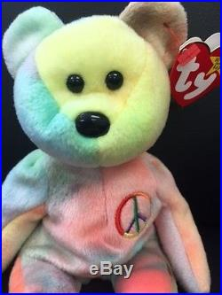 Peace Beanie Baby Rare Peace Bear Original Collectible No Tag