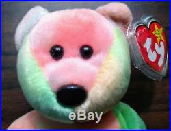 Peace Bear Beanie Baby Rare & Retired Vintage MINT With Good Vibes