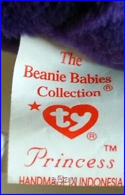 Princess Diana Beanie Baby 1st Edition, Rare 1997 Ty P. E. Indonesia No Spaces
