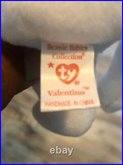 RARE 15 ERRORS VALENTINO Ty Beanie Baby Bear With Brown Nose PVC Pellets MINT