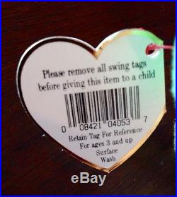 RARE 1996 PEACE Bear Tye Dye Multi Color TY Beanie Babies Baby PVC MINT 4053