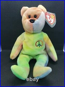 RARE 1996 RETIRED TY BEANIE BABY Peace WITH MANY ERRORS EXCELLENT CONDITION