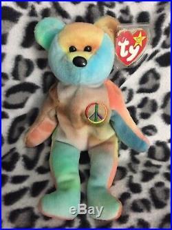 RARE 1ST EDITIONPeace Ty Beanie Baby WithERRORS! ORIGiiNAL & SURFACE WASH STAMP