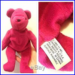 RARE Authentic TY 2nd gen OLD FACE MAGENTA TEDDY Beanie Baby