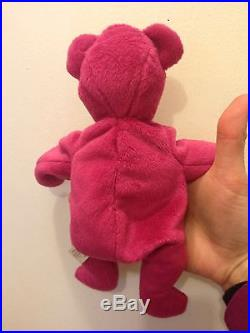35303620dab RARE Authentic TY 2nd gen OLD FACE MAGENTA TEDDY Beanie Baby