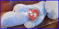 RARE! Authenticated TY 2nd gen Gray Happy Beanie Baby 2nd gen hang/ 1st gen tush