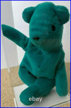RARE Authenticated TY OLD FACE TEAL TEDDY Beanie Baby