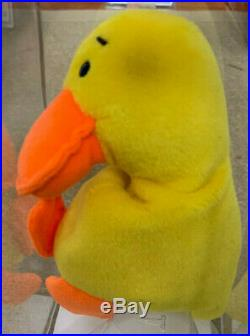 RARE! Authenticated TY QUACKERS Without Wings Beanie Baby 1st gen tush