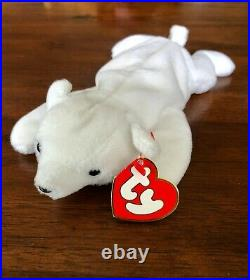 RARE/MINT Chilly the Polar Bear Ty Beanie Baby 3rd Gen Hang Tag / 1st Gen Tush
