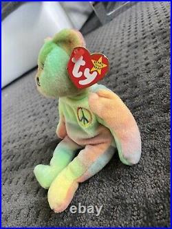 RARE PVC Beanie Baby Peace Bear 1996 Errors Style 4053 Mint Tags Retired