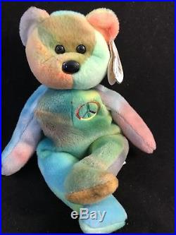 cbe43bd4a4e RARE PVC Peace Bear 1996 Retired Ty Beanie Baby Genuine MINOR Errors ...