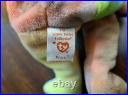 RARE- Peace Bear 1996 Retired TY Beanie Baby With Errors, near Mint