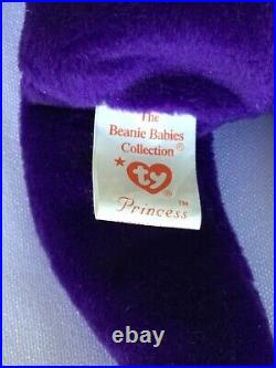 RARE RETIRED TY BEANIE BABY PRINCESS DIANA PURPLE BEAR MINT CONDITION WithTAG