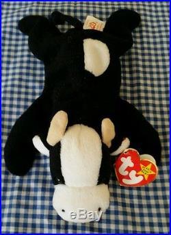 RARE TY 1993/1994 Beanie Baby Daisy Cow Retired PVC Pellets Deutschland ERRORS