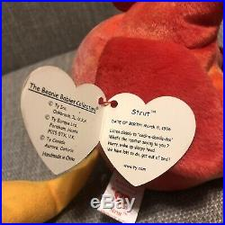RARE TY Beanie Babies STRUT The Rooster Retired 1996