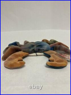 RARE TY Beanie Baby CLAUDE The Crab RETIRED 1996 MINT condition