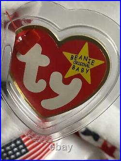 RARE TY GLORY Beanie Baby with Numbered Tush Tag and Tag Errors. 1998. Mint