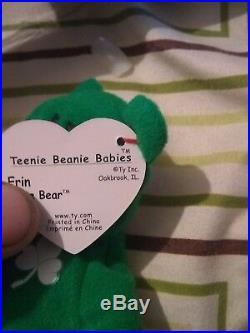 RARE TY McDonalds Teenie Beanie Baby Mini ERIN the Bear 1997 RETIRED WITH ERRORS