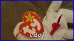 RARE-TY-ORIGINAL Beanie Babies(Valentino)White Brown Nose Bear Retired 1993-1994