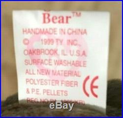 RARE TY Original 1999 Beanie Baby Signature Bear. Tag errors Hologram tushT