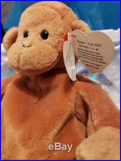 RARE Ty Beanie Babies Retired Pouch with BONGO SWING Tag Errors PVC 1ST EDITION