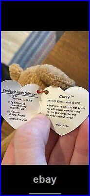 RARE Ty Beanie Baby CURLY THE BEAR 1996 Retired Collectible TAG ERRORS