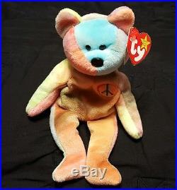 RARE Ty Beanie Baby Peace Bear with tag errors