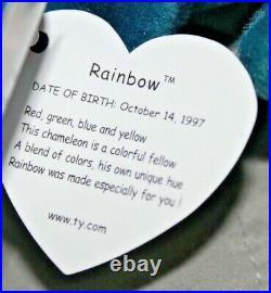 RARE Ty Beanie Baby Rainbow Chameleon MULTIPLE ERRORS