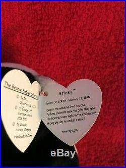 RARE Ty Beanie Baby Stinky the Skunk DOB Feburary 13 1995 Tag Errors