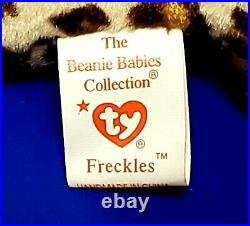 RARE VINTAGE TY Beanie Baby Freckles The Spotted Leopard 1996 Retired ERRORS