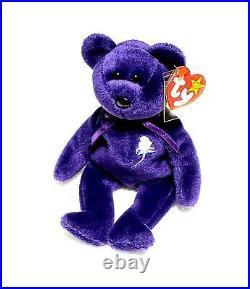 RARE VINTAGE TY Beanie Baby Princess Diana The Purple Teddy Bear ERRORS