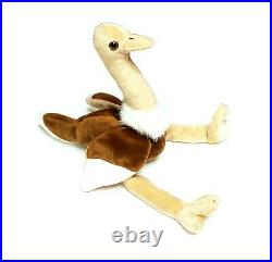 RARE VINTAGE TY Beanie Baby Stretch The Ostrich Retired 1997 ERRORS