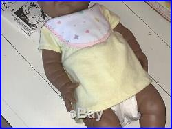RARE Vintage NEWBORN New BORN BABY SHIVERS African American Black Doll with box