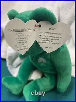 RARE ty Beanie Baby ERIN-MINT with 2 MAJOR ERRORS