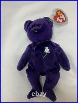RARE ty Beanie Baby PRINCESS DIANA the Purple Teddy Bear MINT Condition