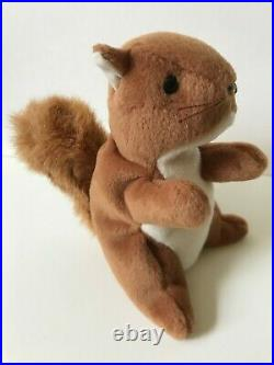 RETIRED ORIGINAL Ty Beanie Baby NUTS the Squirrel PVC, TAG ERRORS, MWMT & RARE