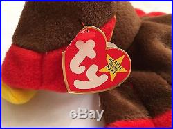 RETIRED RARE GOBBLES 1996 Ty Beanie Baby Swing Tag Style 4034