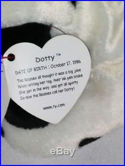 RETIRED Ty Beanie Baby ORIGINAL DOTTY Dog ERRORS With Tags RARE