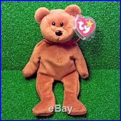 Rare 1993 Ty Beanie Baby Teddy Bear New Face Brown PVC 4th Tush & 4th Swing MWMT