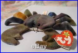 Rare 1996 Claude the Crab TY Tie Dyed Beanie Baby Babies Plush Beanie 4083