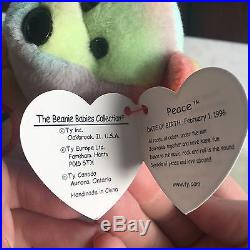 Rare 1996 Ty Beanie Baby Peace Bear Original Collectible with ALL Tag Errors