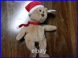 Rare 1997 Holiday Teddy Ty Beanie Baby Retired Style 4200 PVC pellets Santa Hat