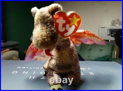 Rare 1998 Scorch the Dragon Ty Beanie Baby 1998 Retired Red Iridescent Wings