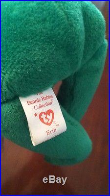 83ec6078517 Rare 1st Edition 1997 Erin Ty Beanie Baby Mint Condition Errors No Tushtag  Stamp